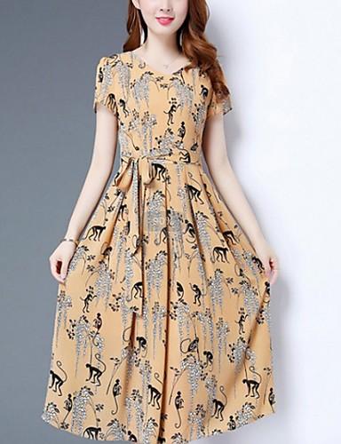 Kadın's Temel Kombinezon Kılıf Elbise - Geometrik Hayvan Midi