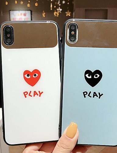 Pouzdro Uyumluluk Apple iPhone XS / iPhone XS Max / iPhone 8 Plus Toz Geçirmez / Ayna / Temalı Arka Kapak Kalp / Karton Temperli Cam / PC