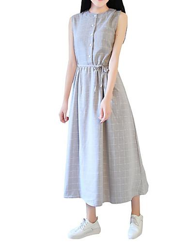 abordables Robes Femme-Femme Elégant Midi Courte Robe - Imprimé, Pied-de-poule Gris Clair Bleu S M L Sans Manches