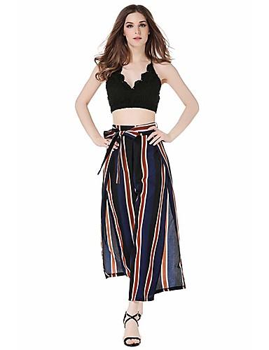 billige Tights til damer-Dame Bohem Bred Bukseben Bukser - Stripet / Multi-farge BLå & Hvit / Svart & Rød, Stripe Regnbue S M L