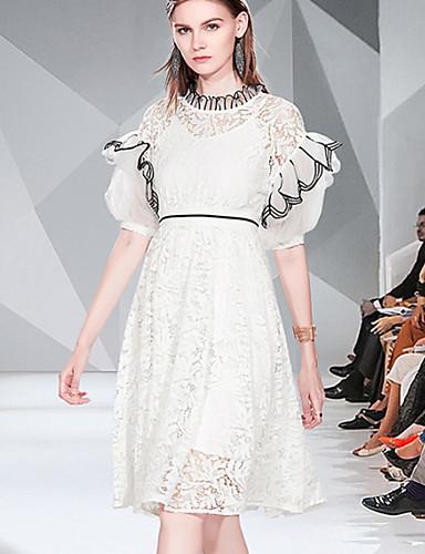 Kadın's Temel Zarif A Şekilli Çan Elbise - Solid Zıt Renkli, Dantel Kırk Yama Desen Diz-boyu