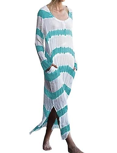 Kadın's Kombinezon Elbise - Çizgili Maksi