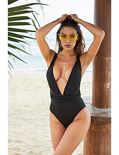 voordelige Nieuwe collectie-Dames Zwart Bikini Zwemkleding - Effen S M L Zwart