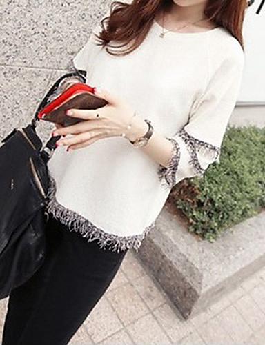 Kadın's Salaş - Tişört Solid Beyaz