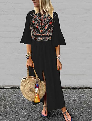 Kadın's Büyük Bedenler Salaş Elbise - Çiçekli V Yaka Maksi