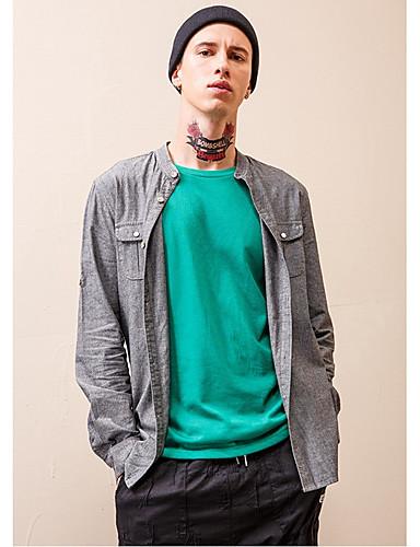 cheap Men's Shirts-Men's Daily Wear Basic Shirt - Solid Colored Patchwork Gray US34 / UK34 / EU42