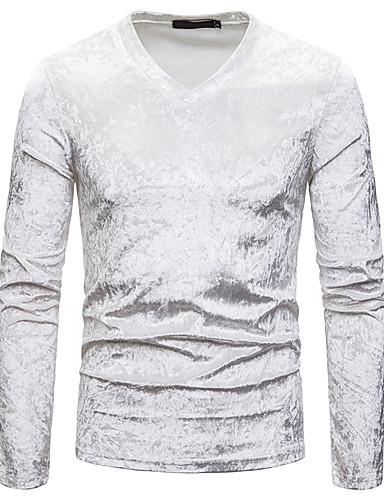 hesapli Erkek Tişörtleri ve Atletleri-Erkek V Yaka İnce - Tişört Zıt Renkli Temel Siyah / Uzun Kollu