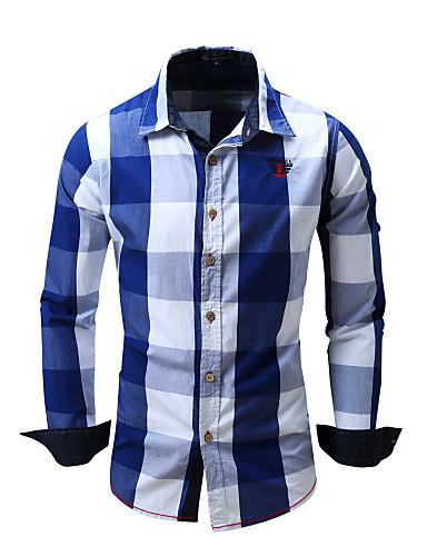 voordelige Herenoverhemden-Heren Standaard EU / VS maat - Overhemd Blokken Bruin / Lange mouw