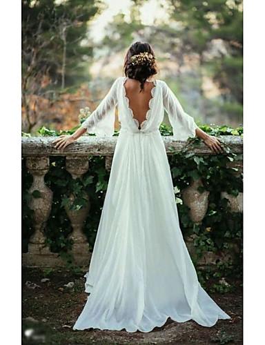 abordables robe mariage civil-Trapèze Bateau Neck Traîne Brosse Mousseline de soie Robes de mariée sur mesure avec par LAN TING Express
