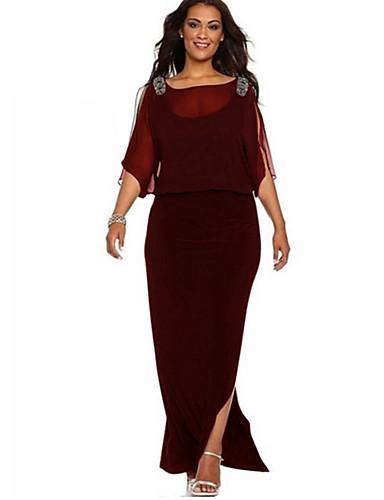 hesapli Maksi Elbiseler-Kadın's Temel Kılıf Elbise - Solid Maksi