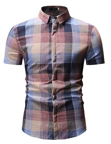 voordelige Herenoverhemden-Heren EU / VS maat - Overhemd Blokken Klaver / Korte mouw
