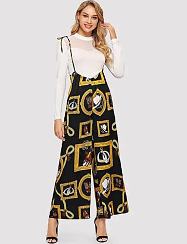 billige Tights til damer-Dame Gatemote Løstsittende Bootcut Bukser - Multi-farge Svart, Lapper Bomull Svart S M L
