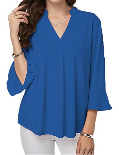 abordables Hauts pour Femme-Chemisier Grandes Tailles Femme, Couleur Pleine A Volants Basique Col en V Bleu clair