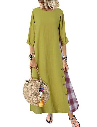 hesapli Kadın Elbiseleri-Kadın's Sokak Şıklığı A Şekilli Elbise - Zıt Renkli, Kırk Yama Midi