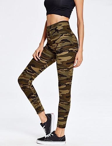 abordables Pantalons Femme-Femme Sportif / Militaire Slim Chino / Joggings Pantalon - Camouflage Arc-en-ciel S M L