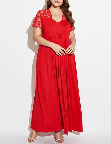 voordelige Grote maten jurken-Dames Grote maten Katoen Wijd uitlopend Jurk - Effen Diepe V-hals Maxi Rood