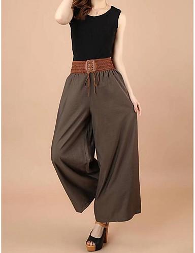 abordables Pantalons Femme-Femme Ample Ample Pantalon - Couleur Pleine Mosaïque Taille basse Noir Vert Véronèse Marron L XL XXL