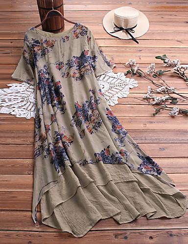 billige Kjoler-Dame Elegant Tunik Kjole - Blomstret, Multi Layer Midi