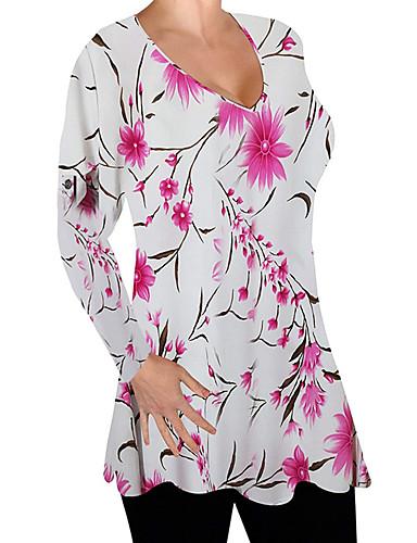 billige Topper til damer-Løstsittende T-skjorte Dame - Blomstret, Lapper / Trykt mønster Grunnleggende Klubb Rød Grønn