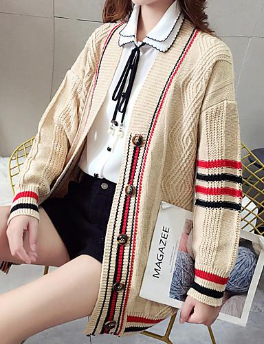 povoljno Ženske majice-Žene Prugasti uzorak Dugih rukava Kardigan, Klasični rever Jesen / Zima Žutomrk / Red / Crn One-Size