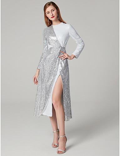 billige Feriekjoler-Tube / kolonne Besmykket Telang Paljetter Glitrende Cocktailfest Kjole med Paljett / Delt front av TS Couture®
