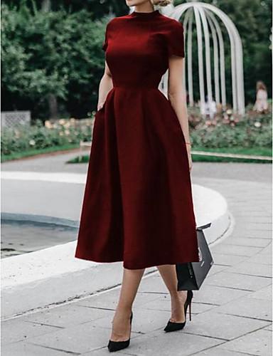 저렴한 여성용 의류-여성용 우아함 A 라인 드레스 - 솔리드 미디