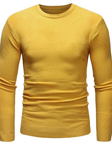 voordelige Heren T-shirts & tanktops-Heren EU / VS maat - T-shirt Polka dot Ronde hals Leger Groen / Lange mouw