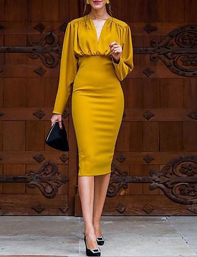 abordables Robes Femme-Femme Sophistiqué Elégant Mi-long Moulante Deux Pièces Robe - Ruché Mosaïque, Couleur Pleine S M L Manches Longues