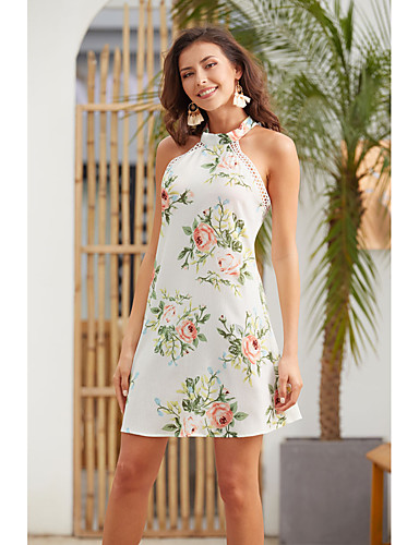 billige Kjoler-Dame Elegant A-linje Skjede Kjole - Blomstret, Lapper Trykt mønster Ovenfor knéet
