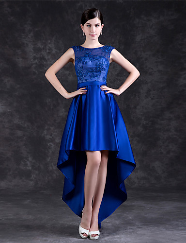 billige Feriekjoler-A-linje Besmykket Asymmetrisk Polyester / Blonder Cocktailfest Kjole med av LAN TING Express