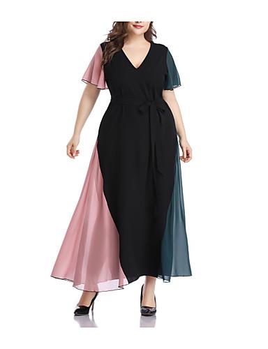 abordables Robes Femme-Femme Maxi Balançoire Robe - Maille Mosaïque, Géométrique Bloc de Couleur Noir XXXL XXXXL XXXXXL Manches Courtes
