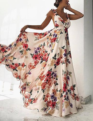 hesapli Maksi Elbiseler-Kadın's Kumsal Boho Çan Elbise - Çiçekli, Desen Derin V Maksi Yüksek Bel