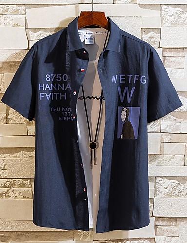 voordelige Herenoverhemden-Heren Print Overhemd Geometrisch blauw / Korte mouw