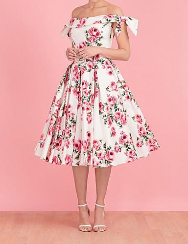 저렴한 여성용 의류-여성용 우아함 A 라인 드레스 - 플로럴 미디
