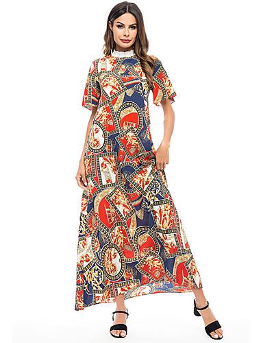 billige Kjoler-Dame Grunnleggende Bohem Chiffon Abaya Kaftan Kjole - Geometrisk, Trykt mønster Maksi