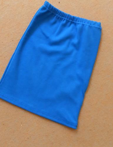 abordables Jupes-Femme Basique Coton Moulante Jupes - Couleur Pleine Vin Bleu Roi Lavande Taille unique