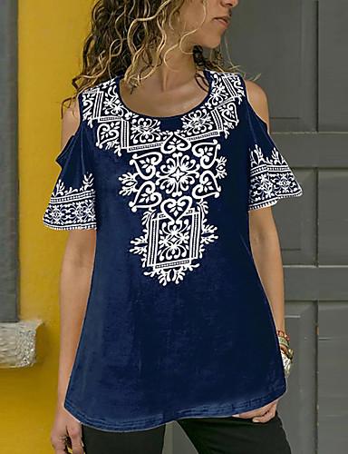 billige Topper til damer-T-skjorte Dame - Blomstret, Drapering Grunnleggende Rød US14 / UK18 / EU46