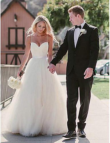 levne Svatební šaty-A-Linie Srdcový výstřih Dlouhá vlečka Tyl Svatební šaty vyrobené na míru s podle LAN TING Express