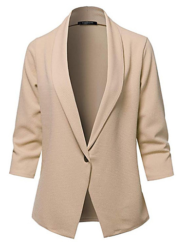 billige Ytterklær til damer-Dame Blazer, Ensfarget Rundet jakkeslag Polyester Beige / Militærgrønn / Kakifarget