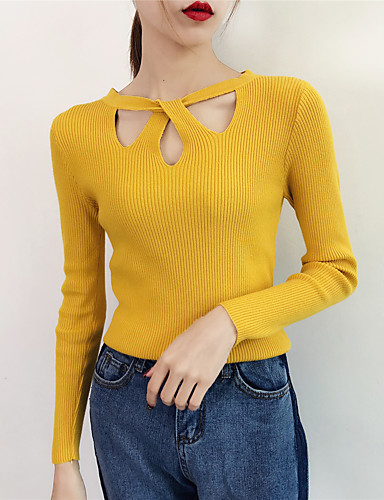povoljno Ženske majice-Žene Jednobojni Dugih rukava Pullover, Okrugli izrez Jesen Crn / Obala / Bijela One-Size