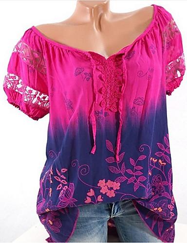 billige Topper til damer-Store størrelser T-skjorte Dame - Blomstret / Geometrisk Lyseblå / Sommer
