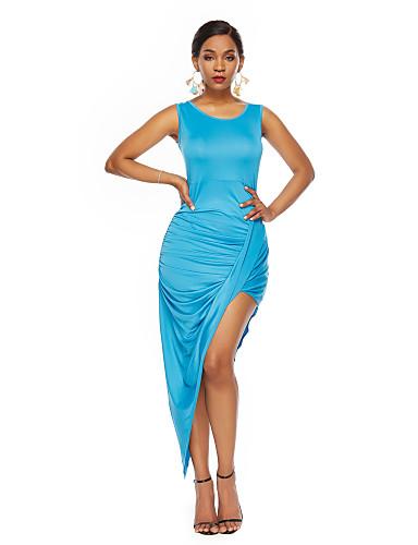 abordables Robes Femme-Femme Rétro Vintage Elégant Asymétrique Balançoire Robe Couleur Pleine Noir Bleu S M L Sans Manches