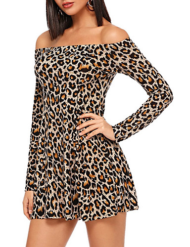 billige Kjoler-Dame Skjede Kjole - Leopard Mini