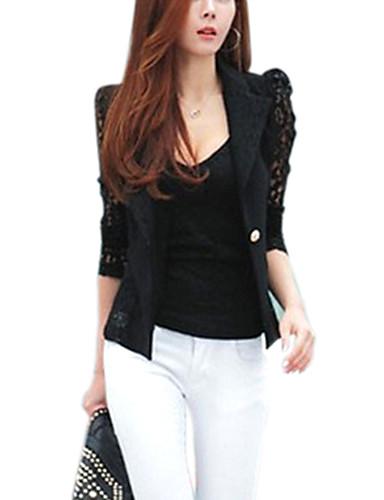 abordables Manteaux & Vestes Femme-Femme Blazer Col châle Polyester Noir