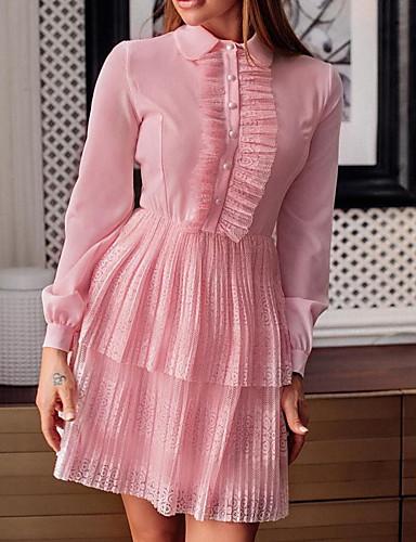 hesapli Kadın Elbiseleri-Kadın's A Şekilli Elbise - Solid, Dantel Bebe Yaka Diz üstü