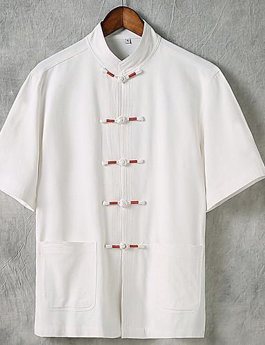 voordelige Herenoverhemden-Heren Standaard / Chinoiserie Overhemd Linnen Effen V-hals Zwart / Korte mouw