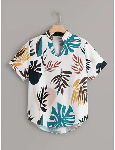 זול חולצות לנשים-פרחוני סגנון רחוב / אלגנטית חולצה - בגדי ריקוד נשים טלאים / סרוג / דפוס לבן US16 / UK20 / EU48