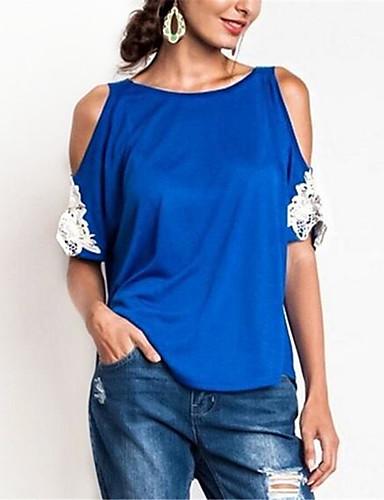 abordables Hauts pour Femmes-Tee-shirt Grandes Tailles Femme, Couleur Pleine - Coton Dentelle / Mosaïque Basique Vin
