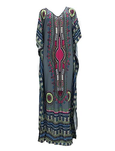 abordables Robes Femme-Femme Bohème Maxi Tee Shirt Robe - Mosaïque Imprimé, Tribal Fuchsia Gris Taille unique Manches Courtes