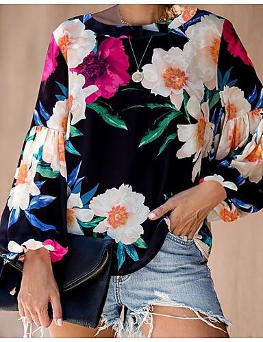Kadın's Tişört Desen, Çiçekli Temel Siyah